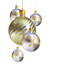 Elegant decorative isolated christmas baubles.