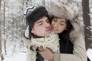 Liebe Schnee Kälte Mann und Frau