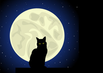 Black cat under the Moon