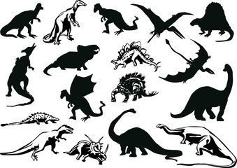 set of dinosaurs silhouettes