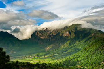 Beautiful landscape of the mountains in La Palma
