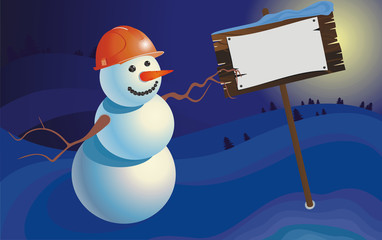 winter landscape snowman builder