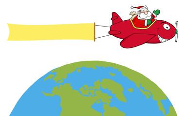 Santa Flying A Plane Banner