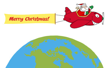 Santa Flying A Plane Banner Over The Globe