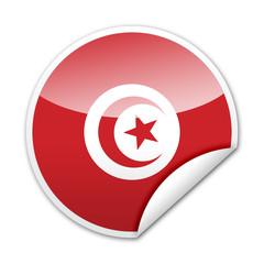 Pegatina bandera Tunez con reborde