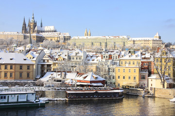 First Snow in Prague, gothic Castle above the River Vltava