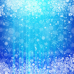 abstract Christmas background with snowflakes and the stars
