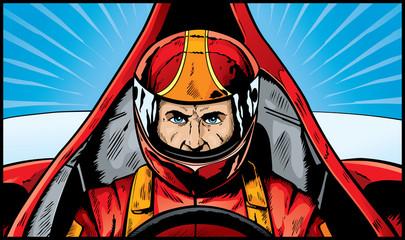 Comic book drawing of an intense Race Car Driver