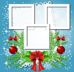 Christmas background with frame for photos or text box