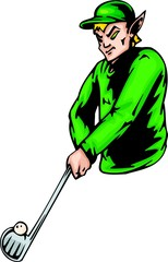 Elf in a green uniform with a stick and a ball for a golf.