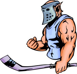 Elf with hockey mask and stick. Sport mascot animals.