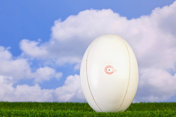 Rugby ball tee'd up on grass