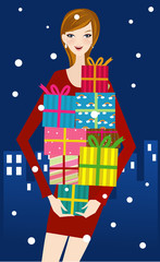 Fashion girl with presents
