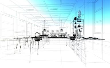 cucina monolocale rendering 3d disegno illustrazione