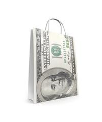 Shopping bag with dollar print