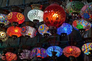 glass varicoloured lamps
