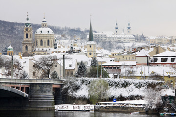 View on Snowy Prague, beautiful medieval city of Czech republic