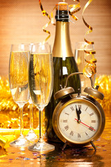 Happy New Year - Champagne and clock