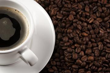 mug coffee and cinnamon on bagging