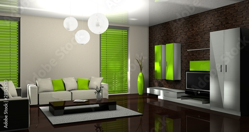 3d wohnzimmer gr n stockfotos und lizenzfreie bilder auf bild 28152610. Black Bedroom Furniture Sets. Home Design Ideas