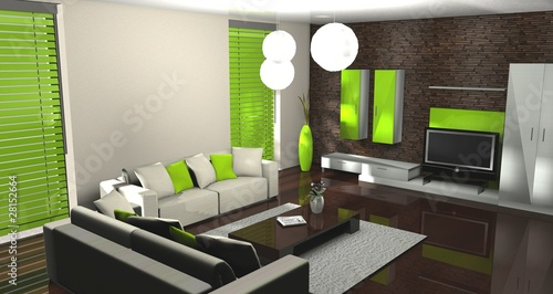 3d wohnzimmer gr n stockfotos und lizenzfreie bilder auf bild 28152664. Black Bedroom Furniture Sets. Home Design Ideas