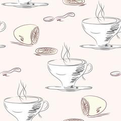 Tea cups and lemon seamless pattern