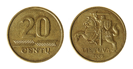 Coin Lithuania lit on the white background (2008 year)