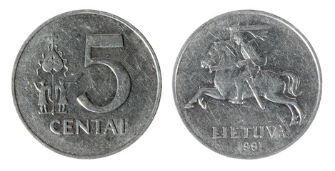 Coin Lithuania lit, cent on the white background (1991 year)
