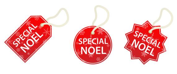 """Etiquettes """"SPECIAL NOEL"""" (soldes noël offre spéciale tampons)"""