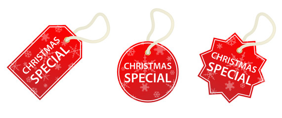 CHRISTMAS SPECIAL Tags (labels stickers specials sale red shop)
