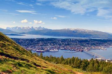 Garden Poster Scandinavia Panorama of Tromso city, Norway