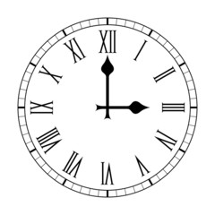 Plain Roman Numeral Clock Face on White