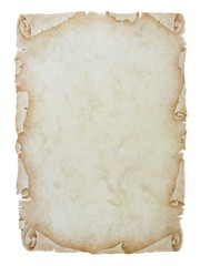 Old vintage paper scroll on white background