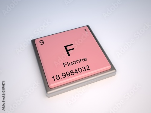 Fluorine Chemical Element Of Periodic Table With Symbol F Stock