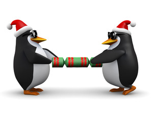 3d Penguins pull a  cracker