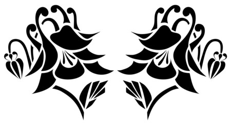 vector tattoo flower on background