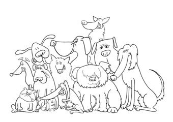 group of dogs illustration for coloring