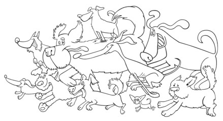 running dogs illustration for coloring book