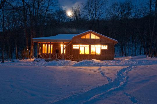 luminous windows night at home