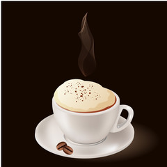 Cup of hot coffee with steam on black background