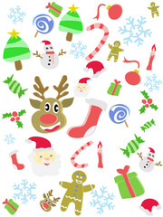 cartoon doodle Christmas seamless background