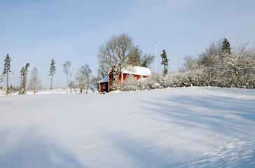 small farm in wintery sweden
