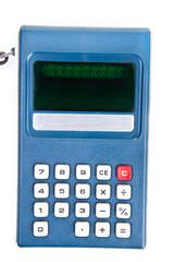 XXXL Vintage Blue Plastic Calculator Isolated on White