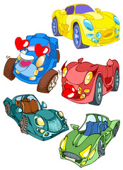 Foto auf AluDibond Autos Cartoon cars