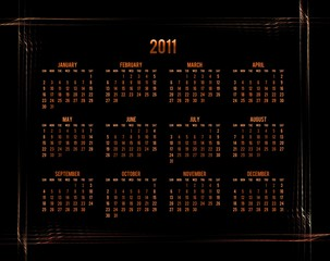 orange calendar 2011 on black background with abstract border