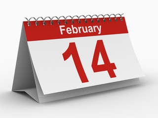 14 february calendar on white background. Isolated 3D image