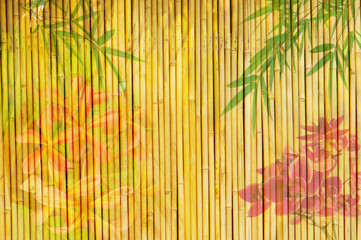 lotus and bamboo background .