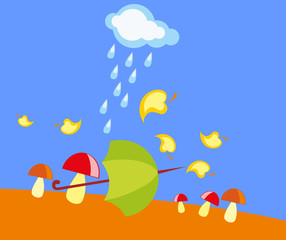 baby drawing - a rainy autumn, mushrooms and umbrella