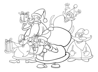 santa clauses group for coloring book