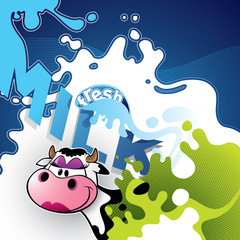 \Illustrated milk banner with comic cow.